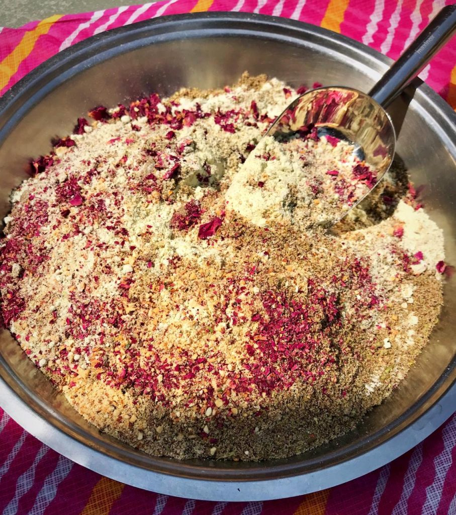 mixing of Rose Thandai Power with almonds, pepper corns, fennel etc